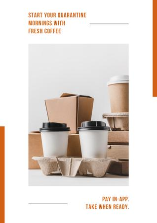 Platilla de diseño Online ordering Offer with Coffee to go Poster