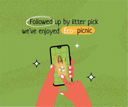No Waste Concept with Groceries in Eco Bag Facebook Modelo de Design