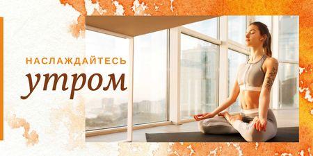 Woman doing yoga in the morning Twitter – шаблон для дизайна