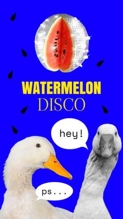 Funny Illustration with Watermelon Disco Ball and Gooses Instagram Story Modelo de Design