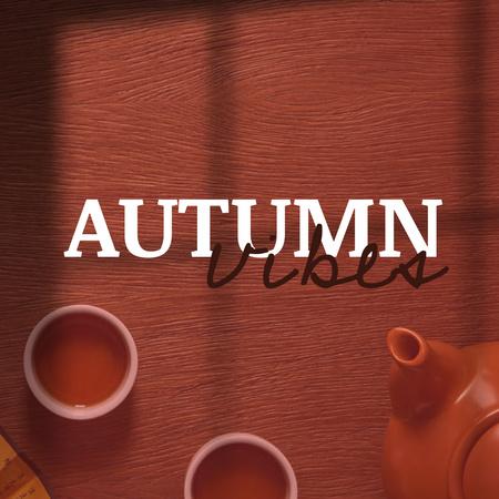 Autumn Inspiration with Warm Tea on Table Instagram – шаблон для дизайну