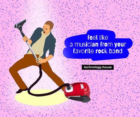 Funny Guy playing on Vacuum Cleaner Pipe Facebook – шаблон для дизайна