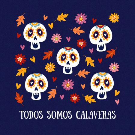 Dia de los Muertos Holiday with Painted Skulls Animated Post – шаблон для дизайна