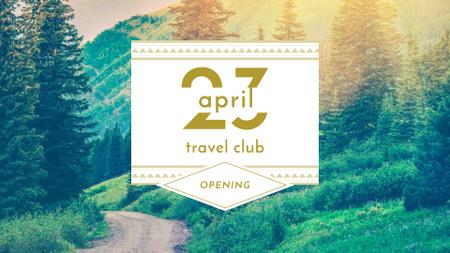 Travel Club ad with Forest Road View FB event cover Modelo de Design
