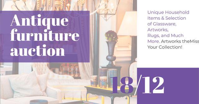 Antique Furniture Auction Announcement Facebook AD – шаблон для дизайну