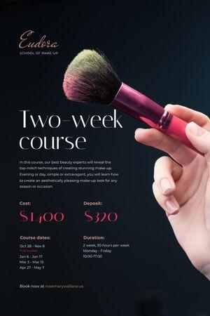 Makeup Courses Promotion with Hand holding Brush Tumblr tervezősablon
