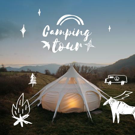 Designvorlage Camping Tour Announcement with Cozy Tent on Nature für Instagram