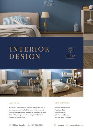 Ontwerpsjabloon van Poster van Interior Design Offer with Cozy Bedroom