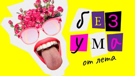 Summer Vibes with Funny Mouth and Floral Glasses Youtube Thumbnail – шаблон для дизайна