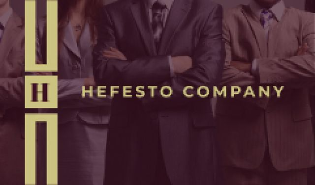 Plantilla de diseño de Company Confident Workers in Suits Business card