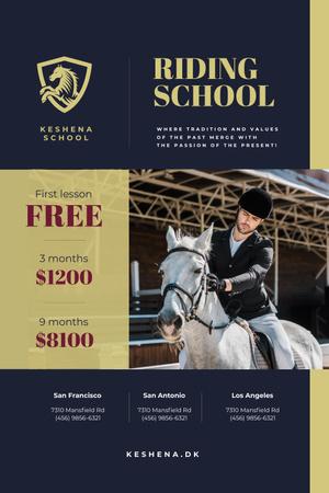 Szablon projektu Riding School Ad with Man on Horse Pinterest