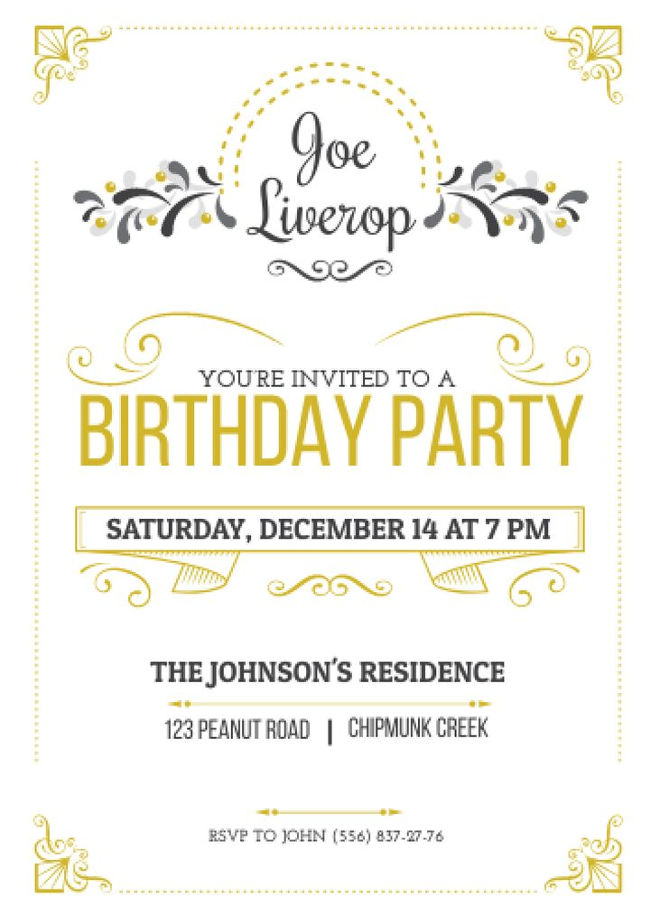 Birthday Party Invitation in Vintage Style Flayer Design Template