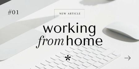 Ontwerpsjabloon van Twitter van Computer keyboard for Work from home concept