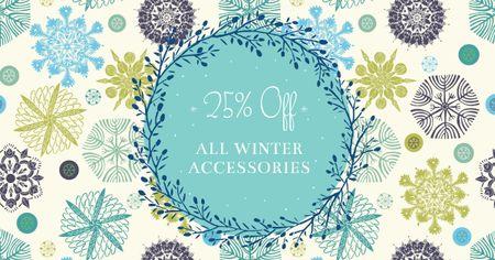 Winter Accessories Offer on Snowflakes pattern Facebook AD – шаблон для дизайну