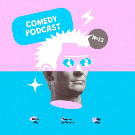Comedy Podcast Announcement with Funny Statue Instagramデザインテンプレート