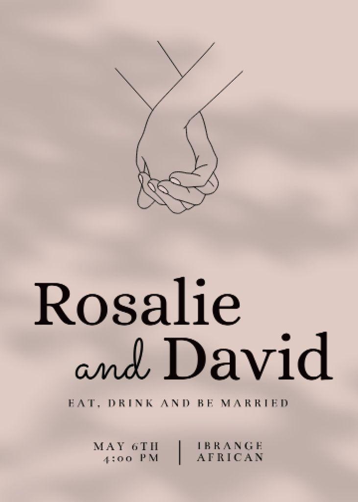 Plantilla de diseño de Wedding Announcement with Newlyweds' Hands Invitation