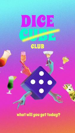 Ontwerpsjabloon van Instagram Story van Funny illustration of dice cube with human hands