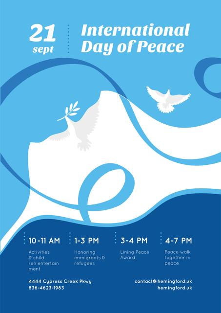 Designvorlage International Day of Peace with Dove Birds on Blue für Poster