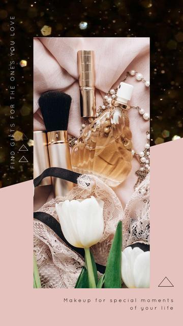 Plantilla de diseño de Makeup Cosmetics Set in Pink Instagram Video Story