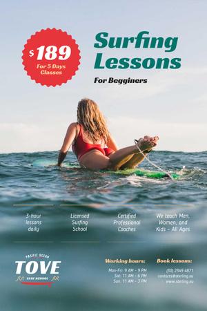 Szablon projektu Surfing Guide with Woman on Board Pinterest
