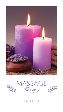 Massage Therapy Offer with Aroma Candles Instagram Storyデザインテンプレート