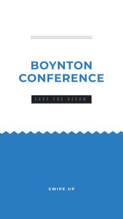 Plantilla de diseño de Eco Conference Announcement with Waves Illustration Instagram Story