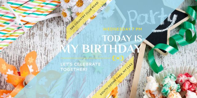 Designvorlage Birthday Party Invitation with Bows and Ribbons für Twitter