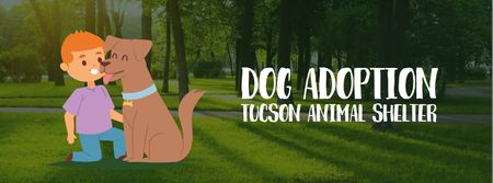 Plantilla de diseño de Boy playing with dog Facebook Video cover