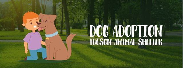 Boy playing with dog Facebook Video cover Design Template
