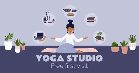 Woman meditating at Home Facebook AD Design Template
