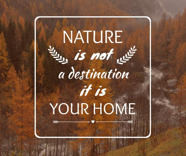 Szablon projektu Nature Quote with Scenic Autumn forest Facebook