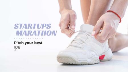 Plantilla de diseño de Business event Ad in White with sneakers FB event cover