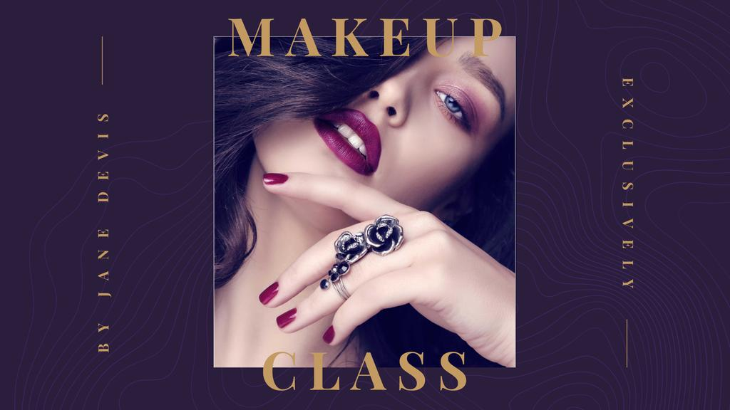 Designvorlage Makeup Class Announcement with Beautiful Girl für FB event cover