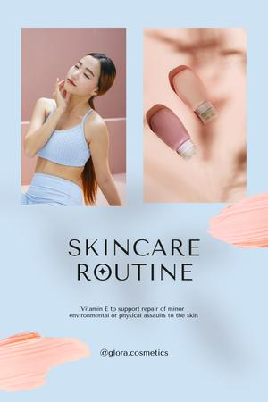 Plantilla de diseño de Skincare Ad with Tender Young Woman Pinterest