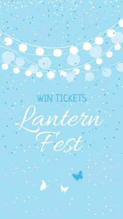 Plantilla de diseño de Lantern Festival Announcement with Garlands and Butterflies Instagram Story
