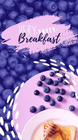 Modèle de visuel Bread with Honey and Blueberries for Breakfast - Instagram Story