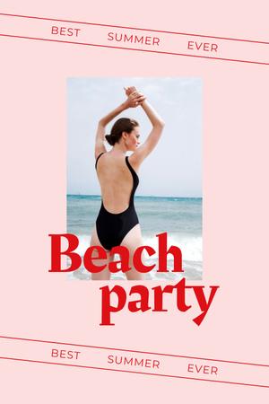 Modèle de visuel Summer Beach Party Announcement with Woman in Swimsuit - Pinterest