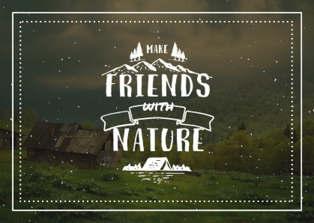 Plantilla de diseño de Scenic Landscape of Mountain Village Postcard