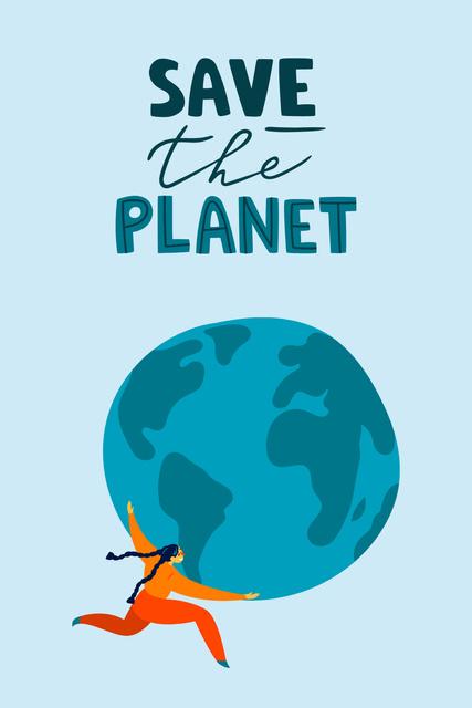 Plantilla de diseño de Eco lifestyle Concept with Planet in Hands Pinterest