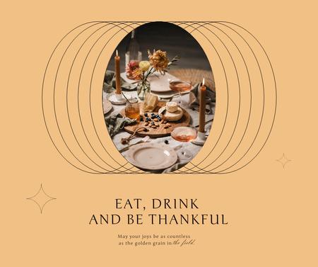 Modèle de visuel Thanksgiving Holiday Greeting with Festive Dinner - Facebook