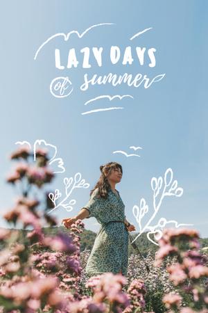 Summer Inspiration with Girl in Flower Field Pinterest Design Template