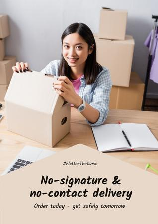 #FlattenTheCurve Delivery Services offer Woman with boxes Poster Design Template