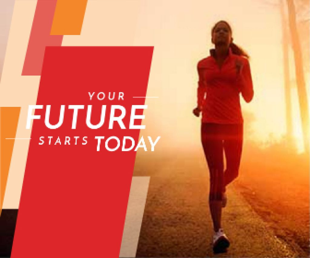 Inspirational Quote with Running Young Woman — Crea un design