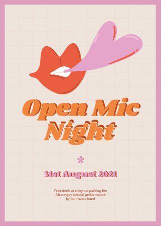 Template di design Open Mic Night Announcement with Lips Illustration Invitation