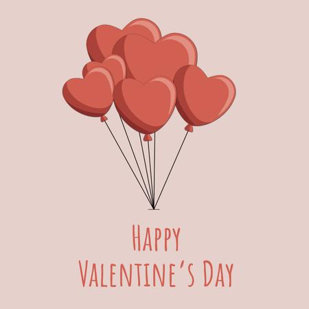 Valentines Bunch of heart-shaped Balloons  Animated Post Modelo de Design