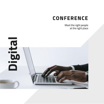 Business conference announcement with Man by Laptop