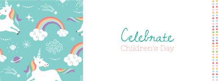 Children's Day Holiday Greeting with Unicorns Facebook cover Modelo de Design