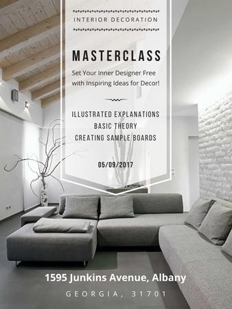 Interior decoration masterclass with Sofa in grey Poster USデザインテンプレート