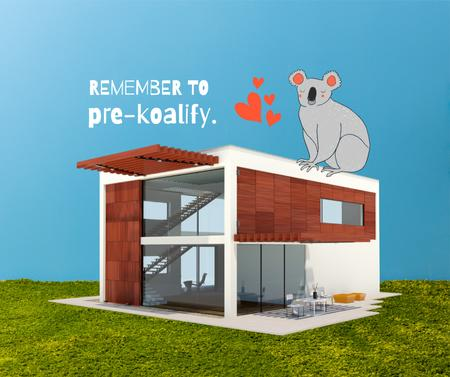 Template di design Real Estate Ad with Cute Koala sitting on House Facebook