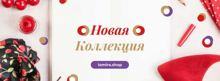 New Collection Offer with Red Accessories Facebook cover – шаблон для дизайна